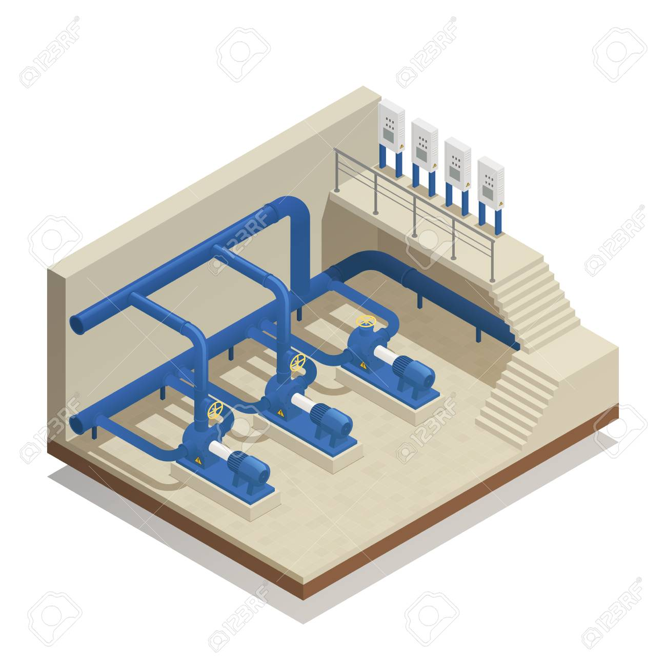 Water purification and cleaning facility element isometric composition with treatment plant pump system equipment vector illustration. - 97524736