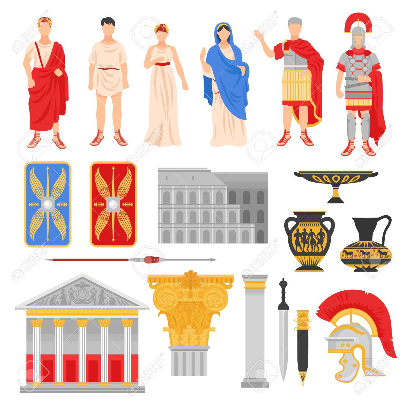 Ancient rome empire set of isolated flat images with pantheons legionnaire outfit weapons and human characters vector illustration - 96921128