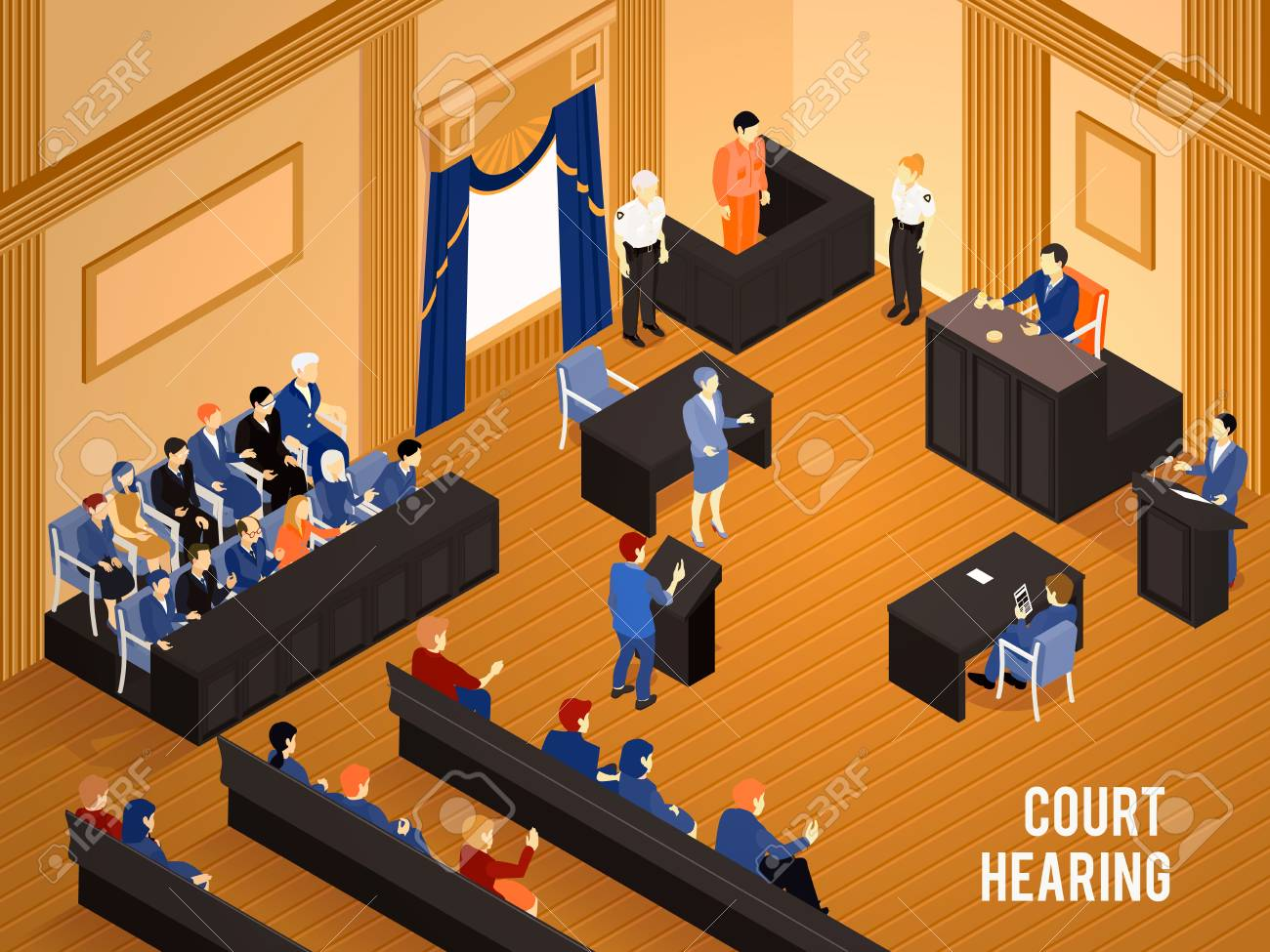 Court hearing with judge jury and witnesses 3d isometric vector illustration - 96956886