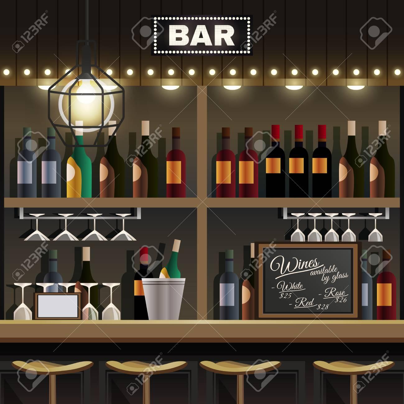 cafe restaurant pub bar realistic interior detail with wine liquor rh 123rf com home bar display shelves bar display shelf