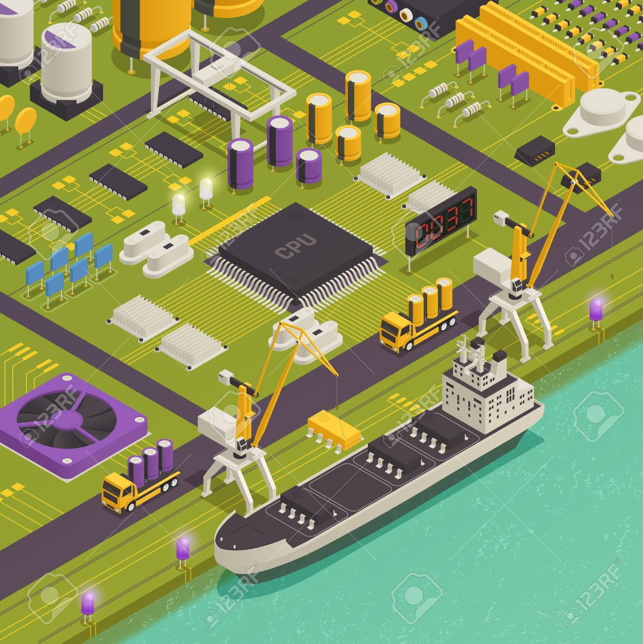 Semiconductor Electronic Components Assembled On Printed Circuit Completely Board As Harbor Freight Barge Vessel Isometric Composition Vector