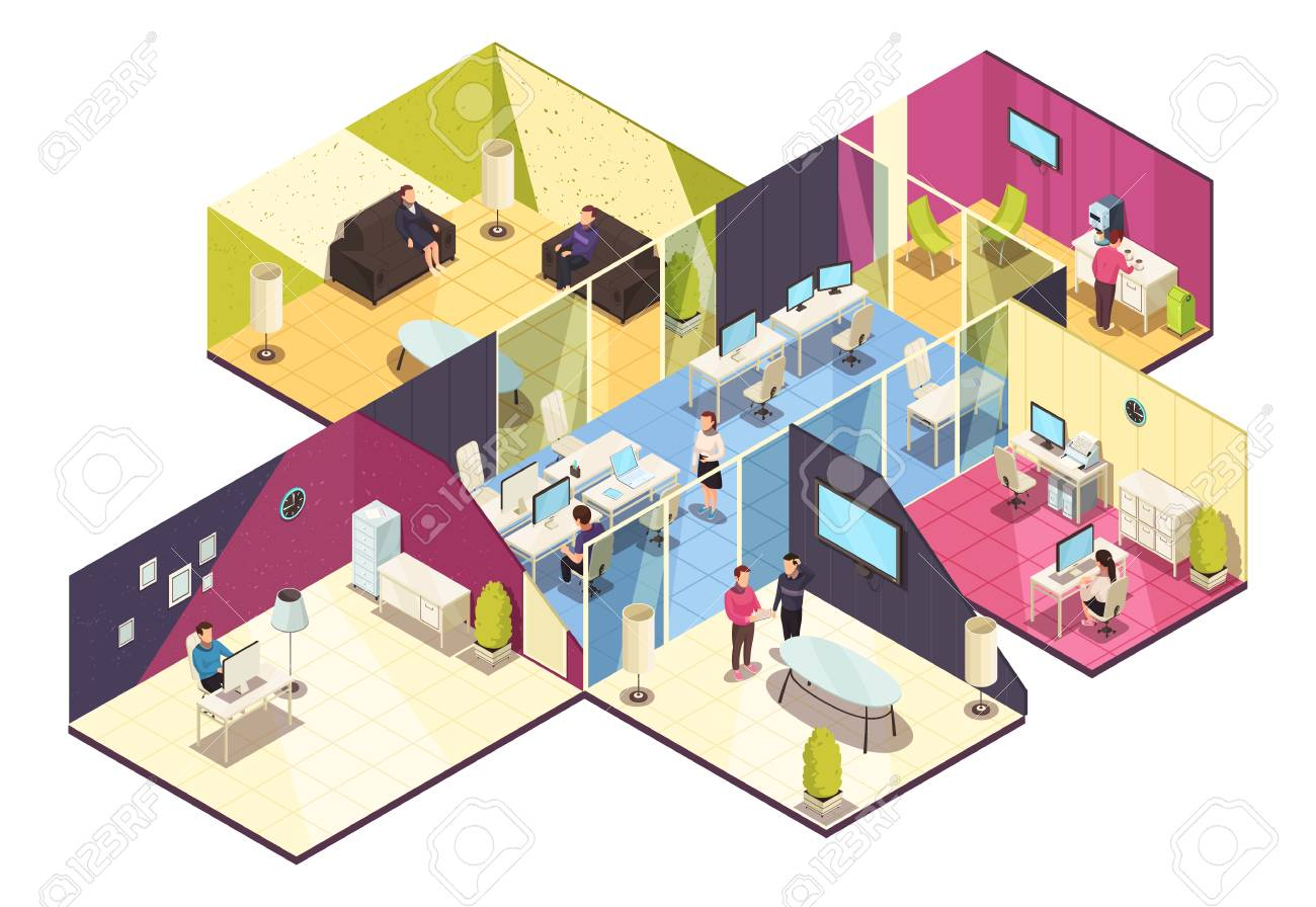 Business center one floor interior isometric composition with offices computer conference and employee break rooms vector illustration - 98040962