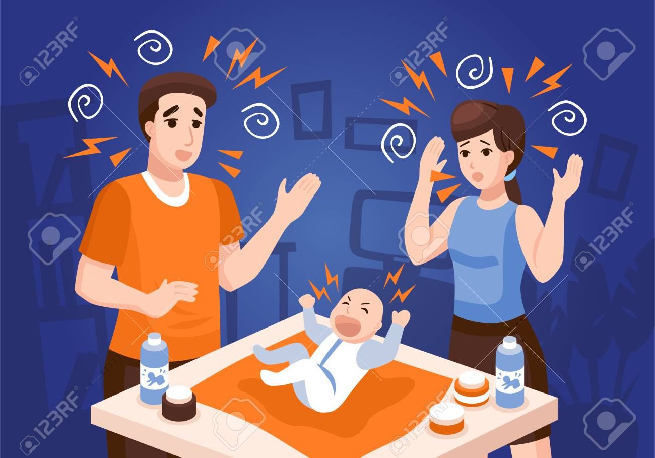 Infants sleeping problems composition with frustrated parents soothing crying newborn baby at night blue background vector illustration - 98821234