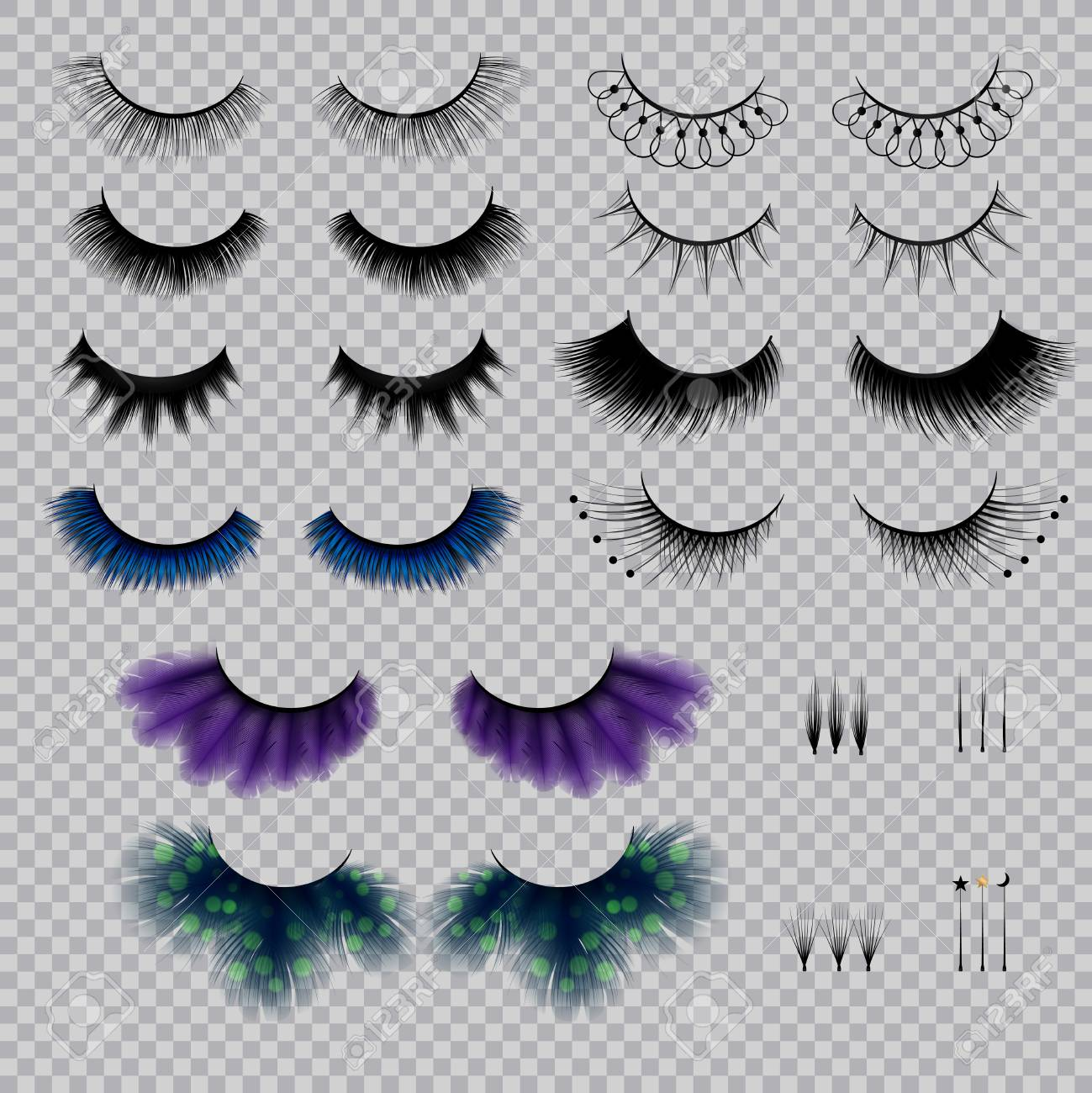 ba098f06636 False eye lashes of various shape and color realistic set on transparent  background isolated vector illustration