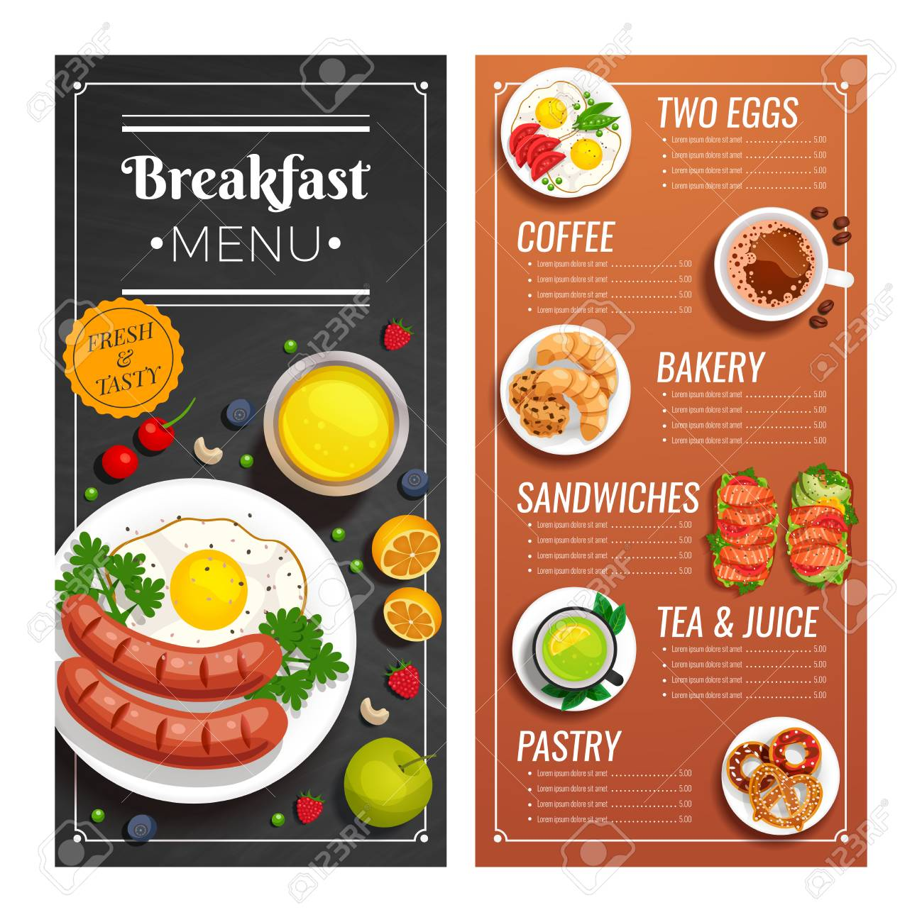 breakfast menu design for cafe and restaurant with offer of dishes