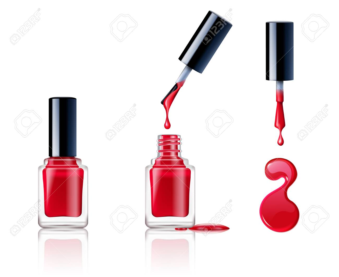 Realistic Container Brush And Drops Of Nail Polish Set Isolated ...