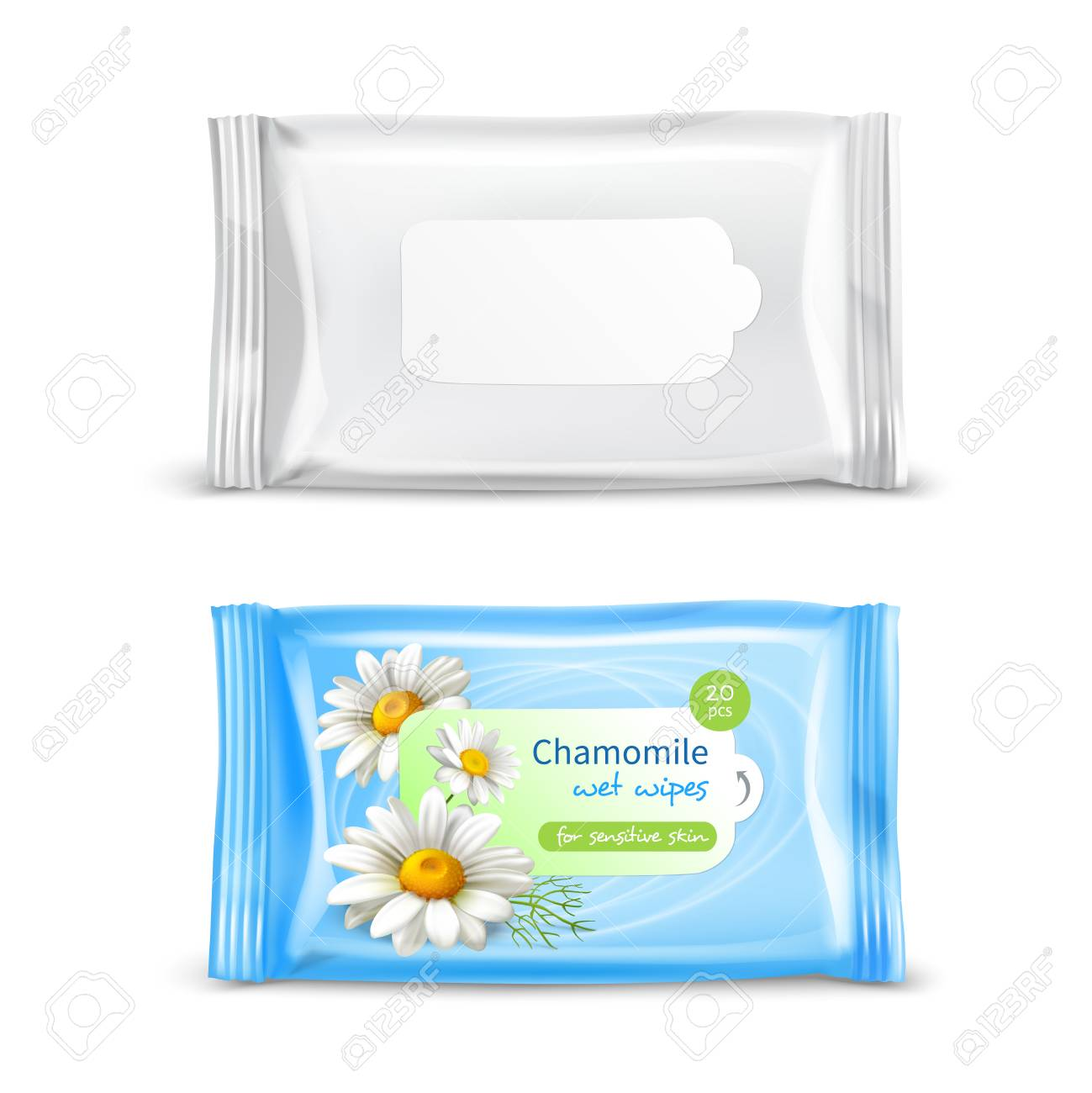 Chamomile wet wipes napkins for sensitive skin realistic package 2 views set isolated vector illustration - 99714255
