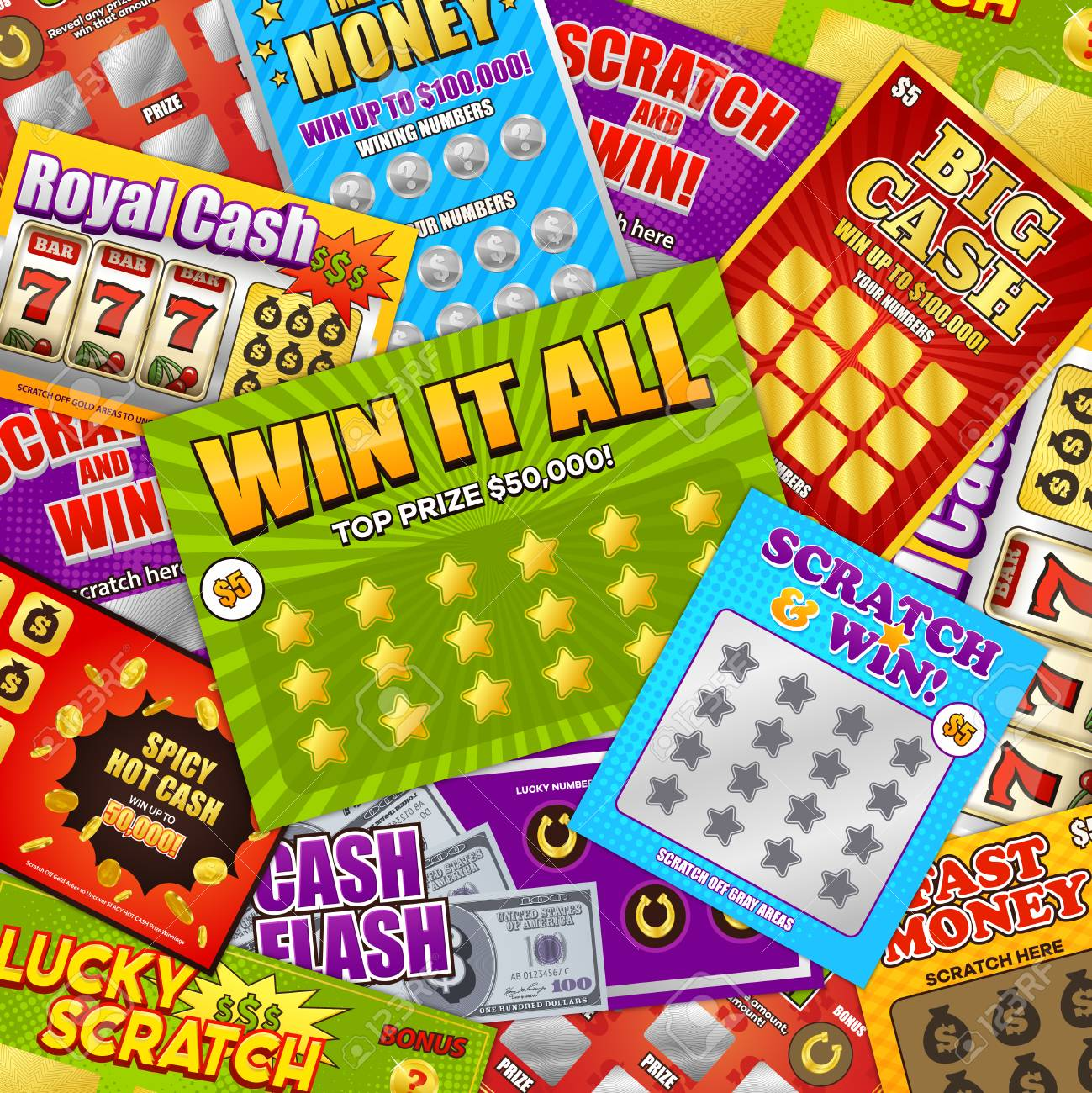 Lottery colorful background design with lucky scratch big cash