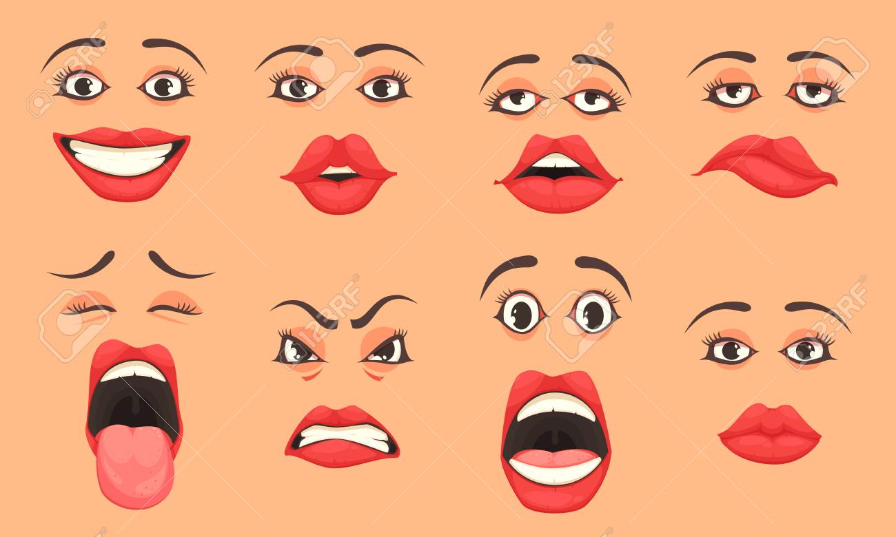Women cute mouth lips eyes facial expressions gestures emotions of surprise happiness sadness cartoon set vector illustration - 100079875