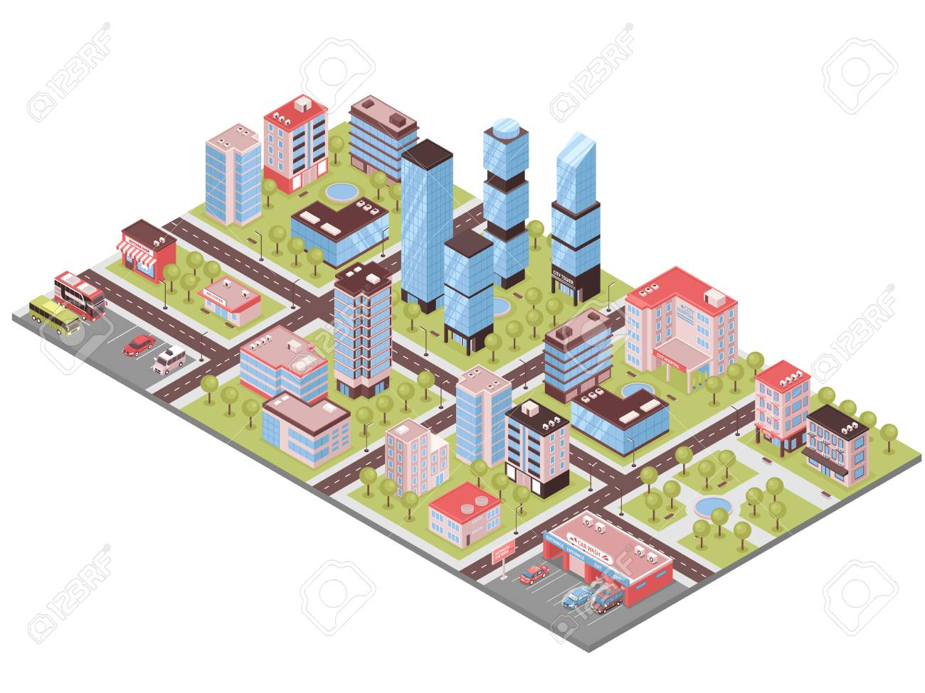 City district isometric composition with business center office towers auto repair parking lot stores buildings vector illustration - 100253526