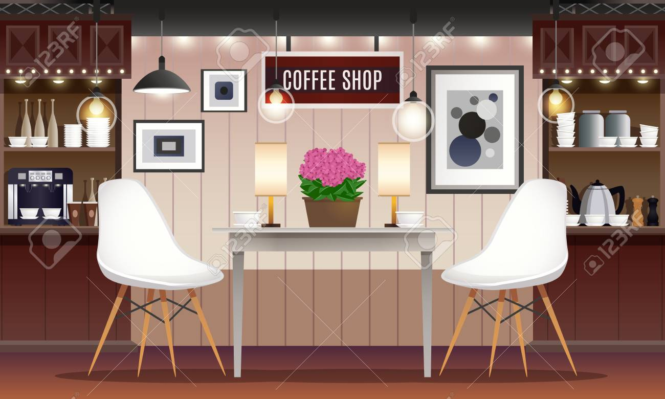 Cafe Coffee Shop Interior Realistic Set With Chairs Stools Tables Royalty Free Cliparts Vectors And Stock Illustration Image 100476535