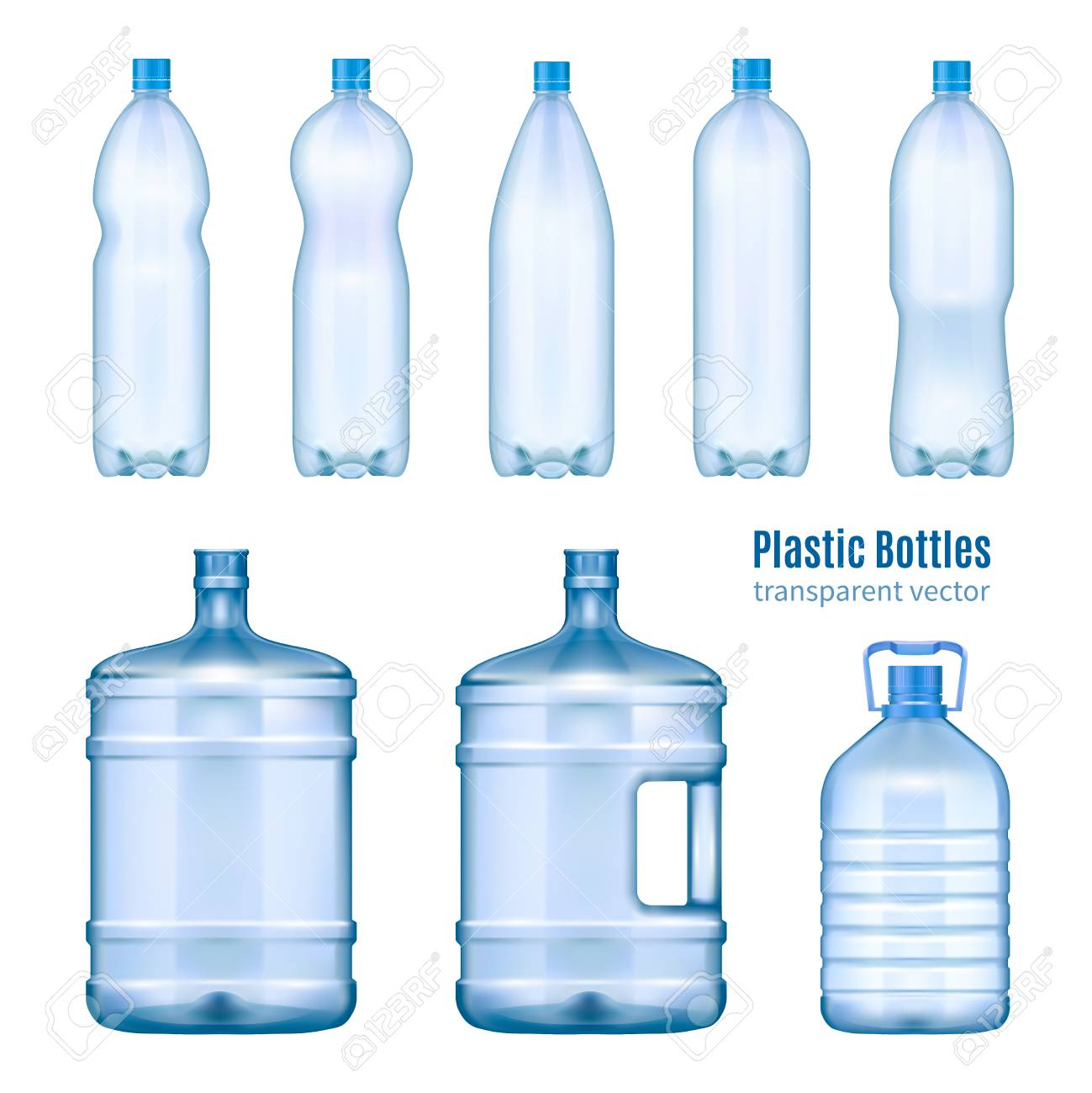 4b5d9c1ba9 Plastic water bottles realistic set of large containers for cooler and small  tare for retail sale