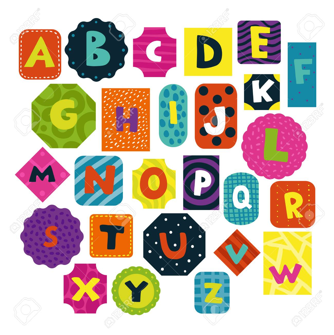 Children alphabet funny shaped and textured letters cards collection for preschoolers toddlers little kids isolated vector illustration - 100644096