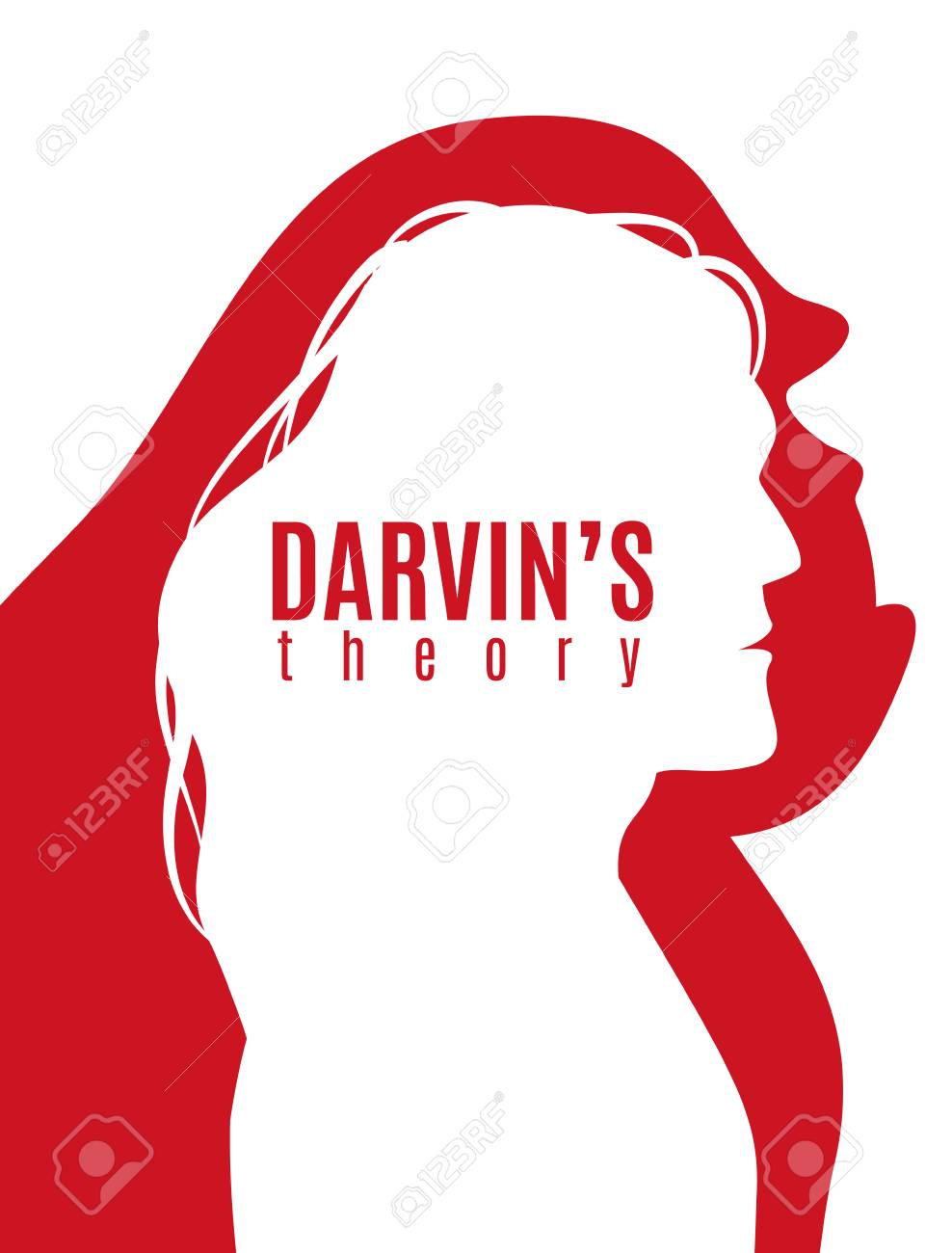 Darwin theory red white poster with profile silhouettes of primate and modern man vector illustration - 100727055