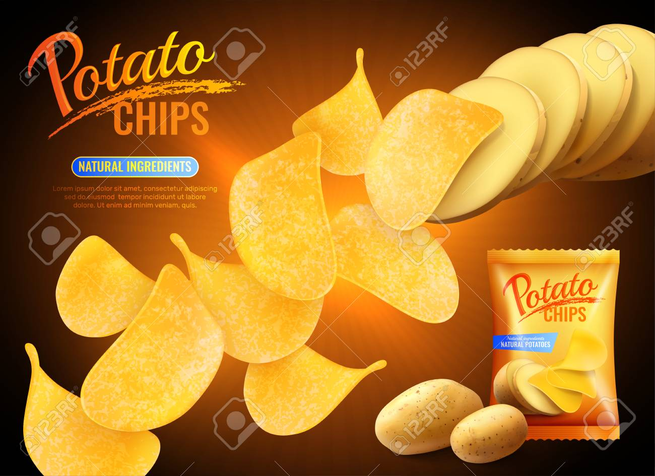 Potato chips advertising composition with realistic images of crisps natural potatoes and pack shot with text vector illustration - 100725339