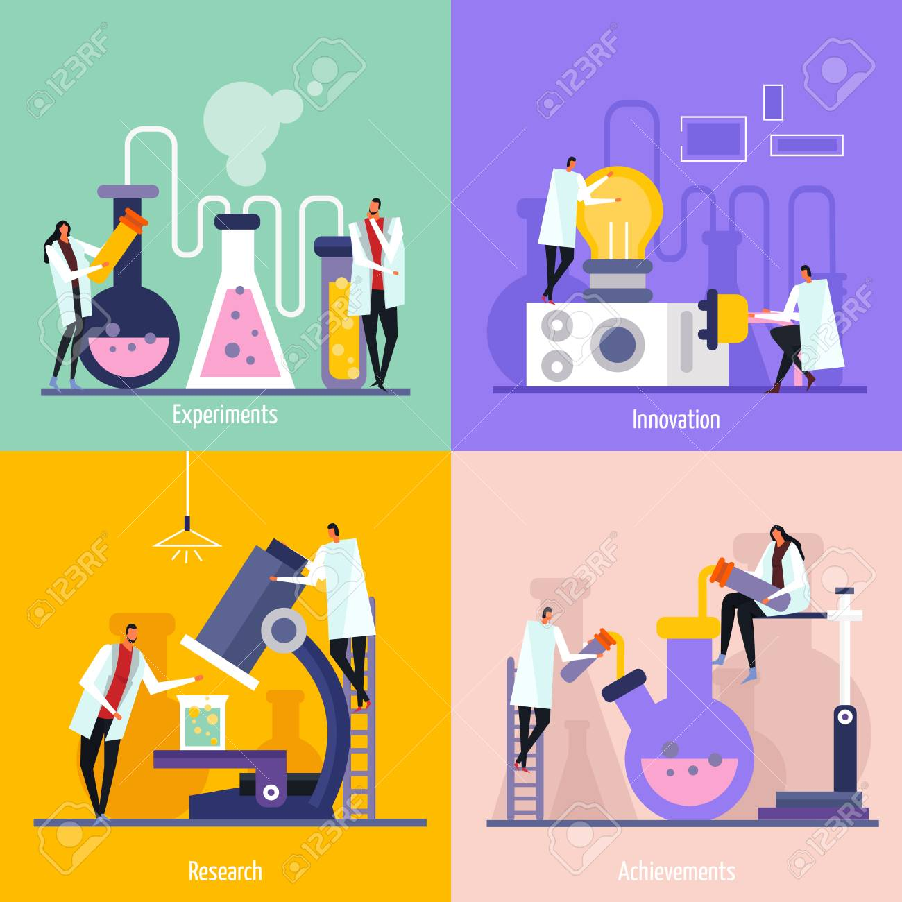 Science lab flat design concept with experiments, innovation, research and achievement isolated vector illustration - 101862276