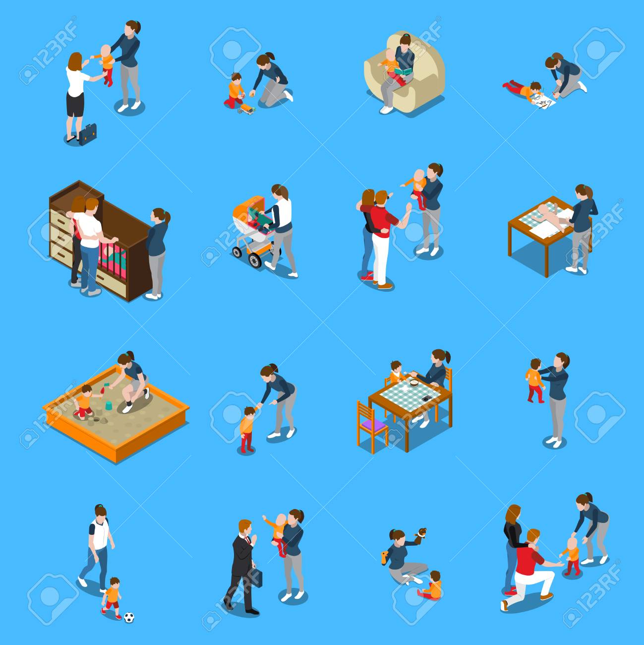 baby sitter during child care parents leaving for work isometric