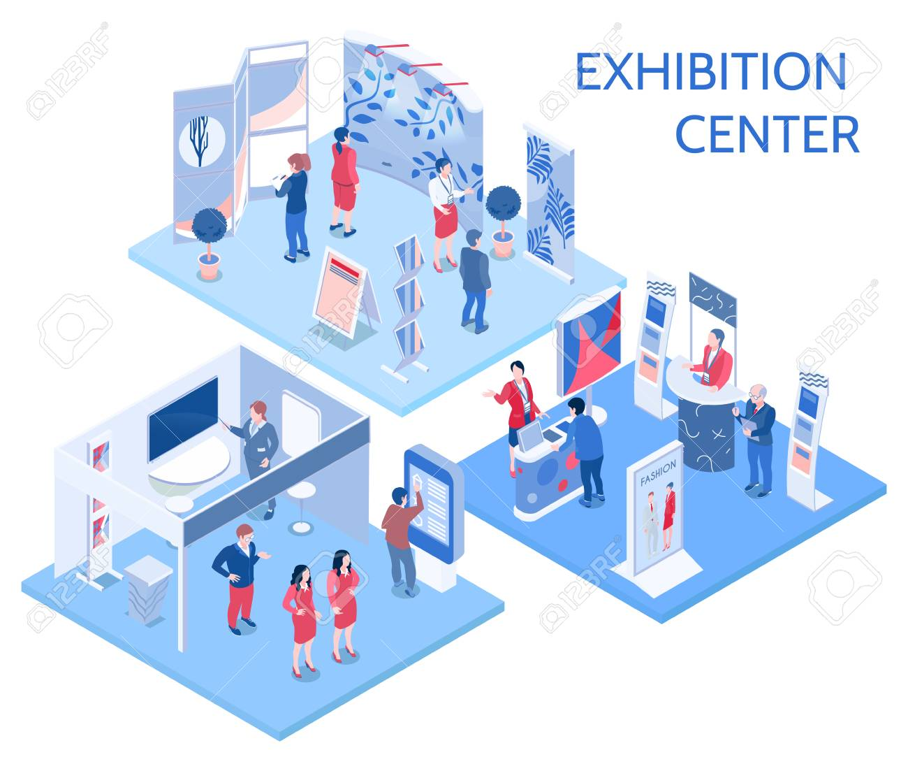 Exhibition center isometric compositions with people looking at expo stands in gallery hall and communicating with staff vector illustration - 101856142