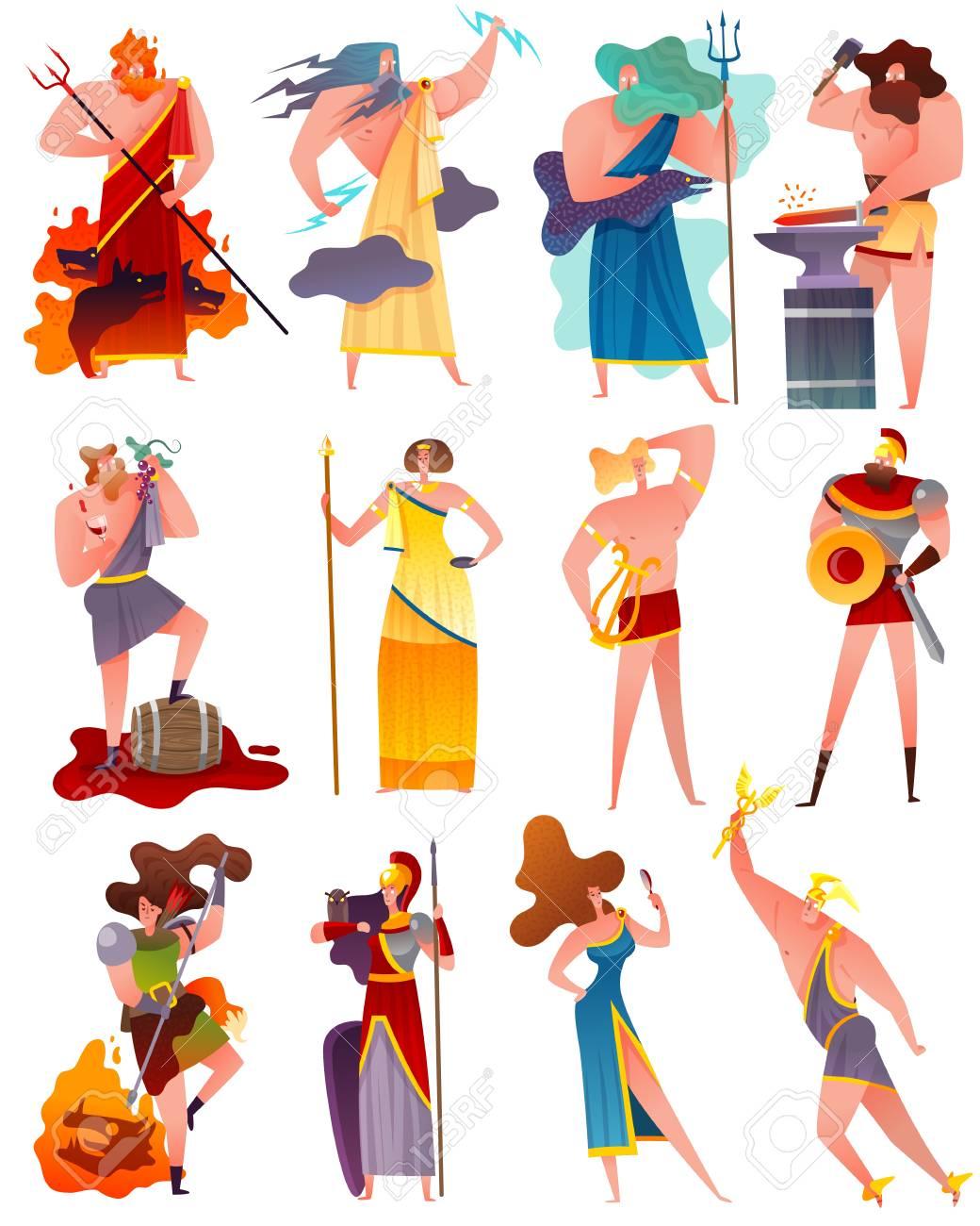 Mythology cartoon set of famous ancient greece gods and goddess so as apollo poseidon artemis athena demeter jupiter flat vector illustration - 101862363