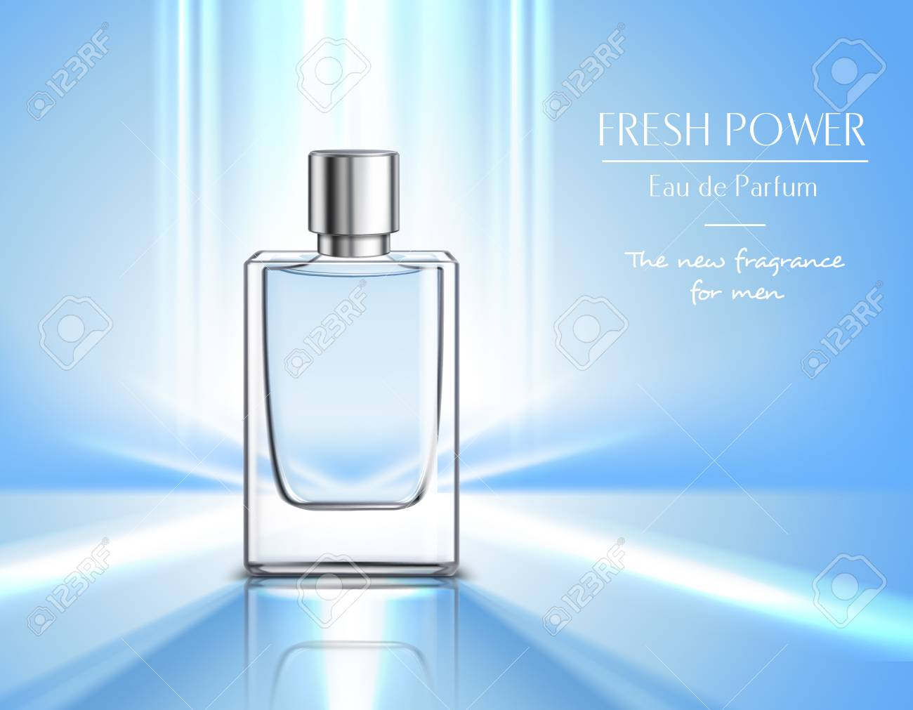 New fragrance for men perfume poster with vial of eau de parfum on blue background and fresh power headline realistic vector illustration - 101856264