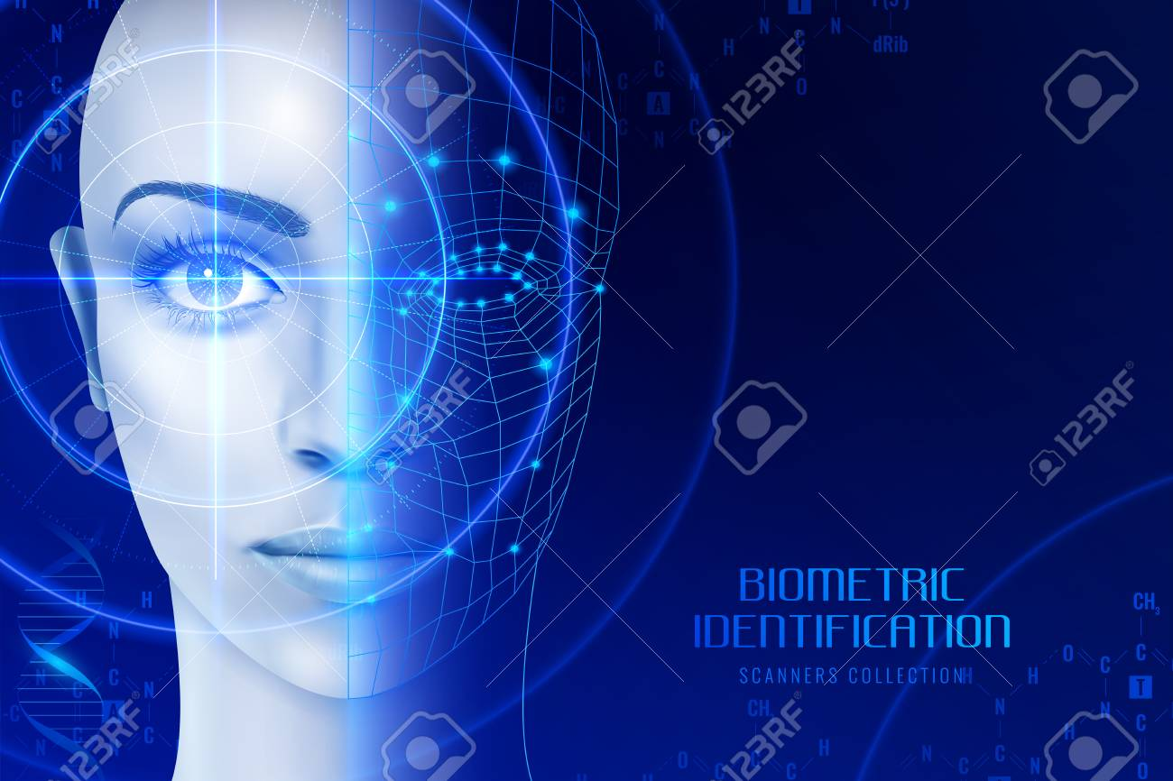 Biometric identification, scanners in work process for face and retina recognition on dark background vector illustration - 101856304
