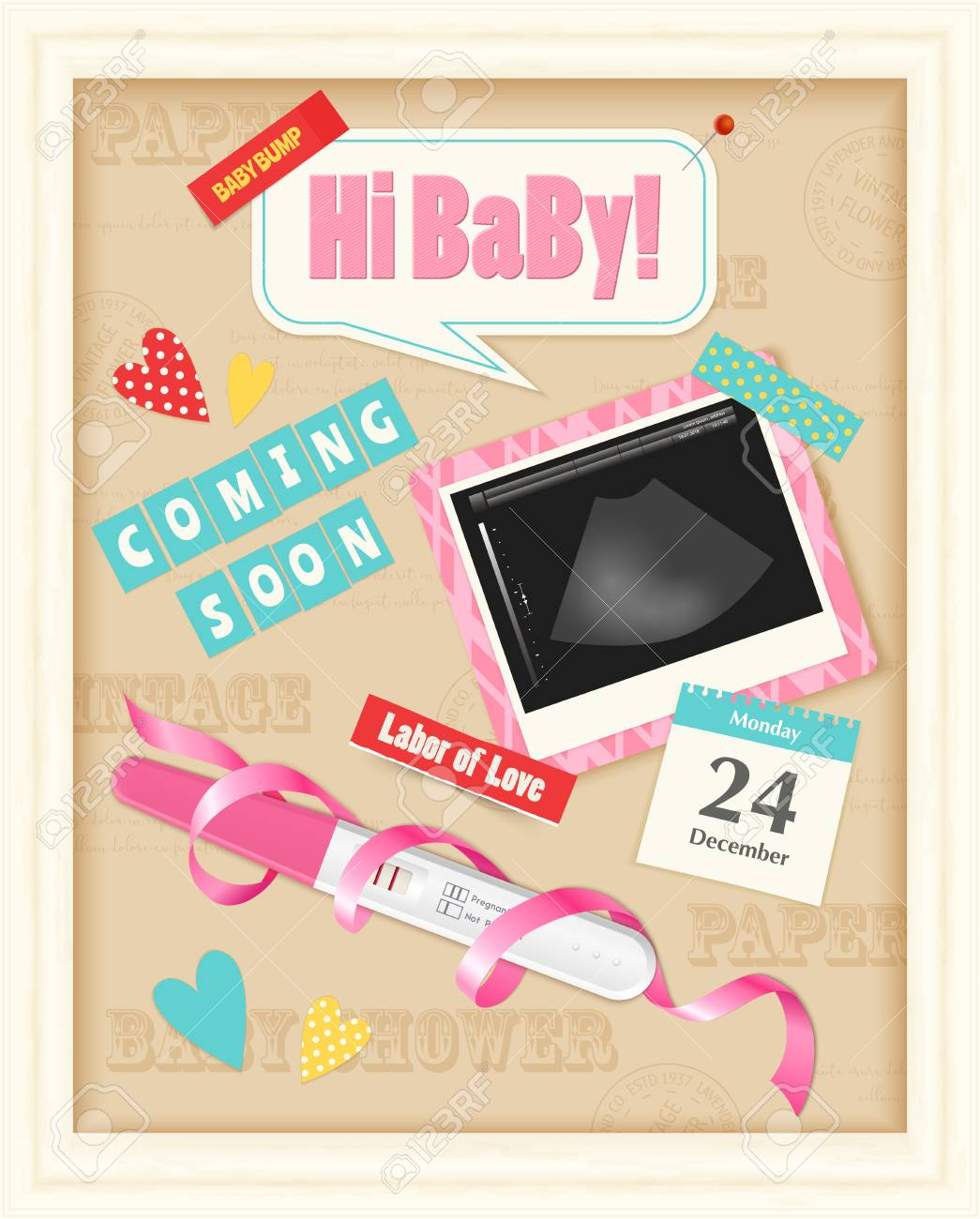 Coming Soon Baby Girl Realistic Scrap Album Page With Positive