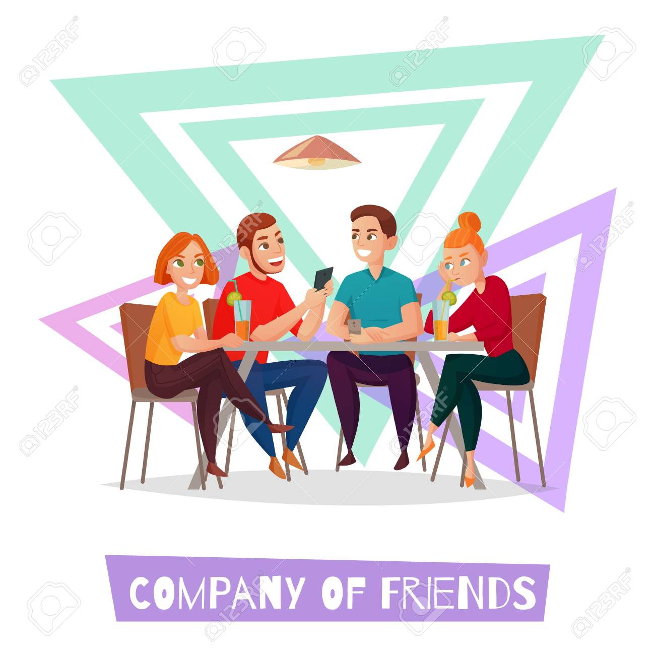 Colored isolated restaurant pub visitors simple composition with company of friends description vector illustration - 101912172
