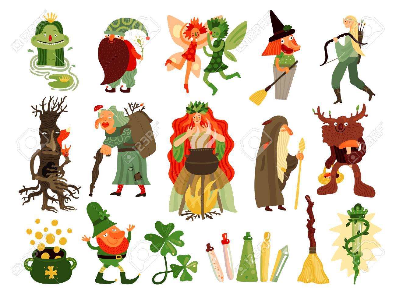Fairy tale set of mythology and folklore cartoon characters