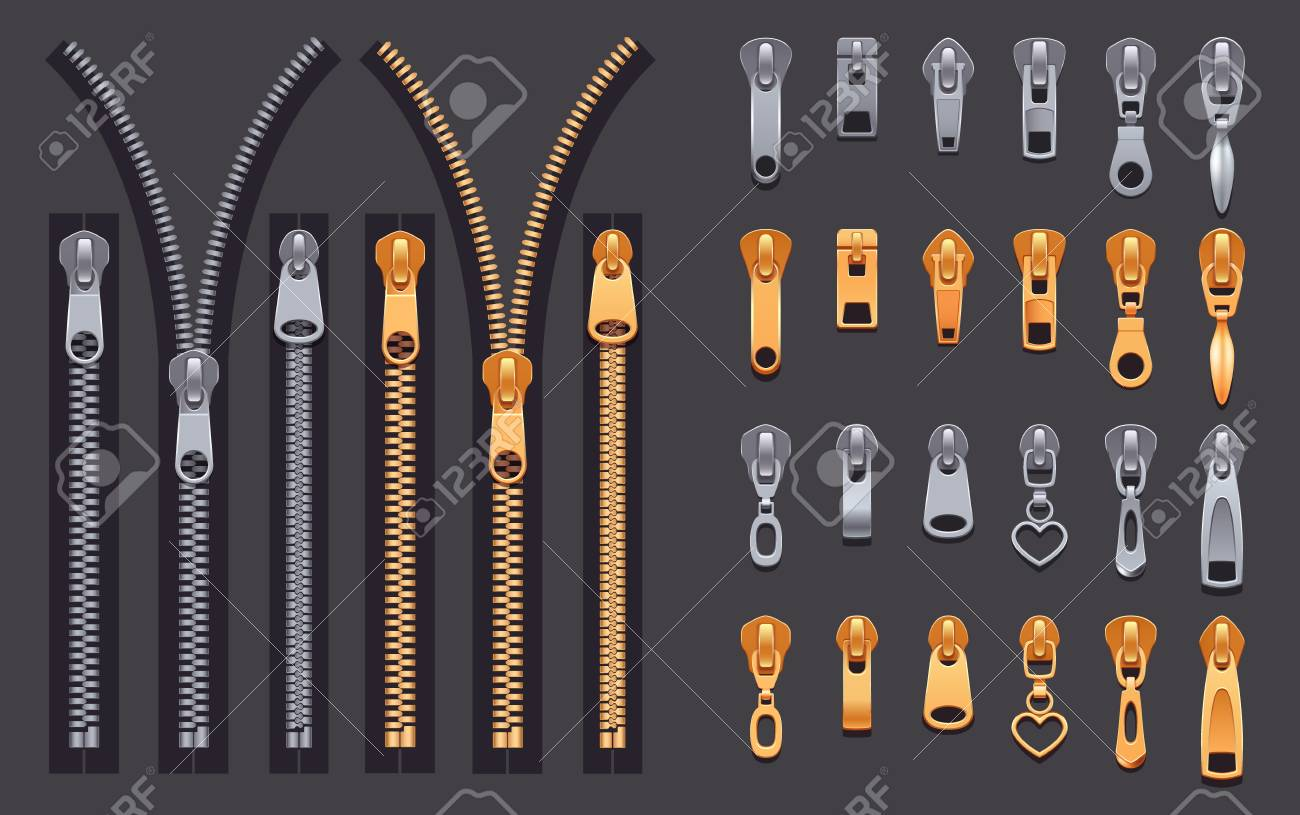 Set of gold and silver metallic closed and open zippers and pullers realistic set isolated on black background vector illustration - 102305092