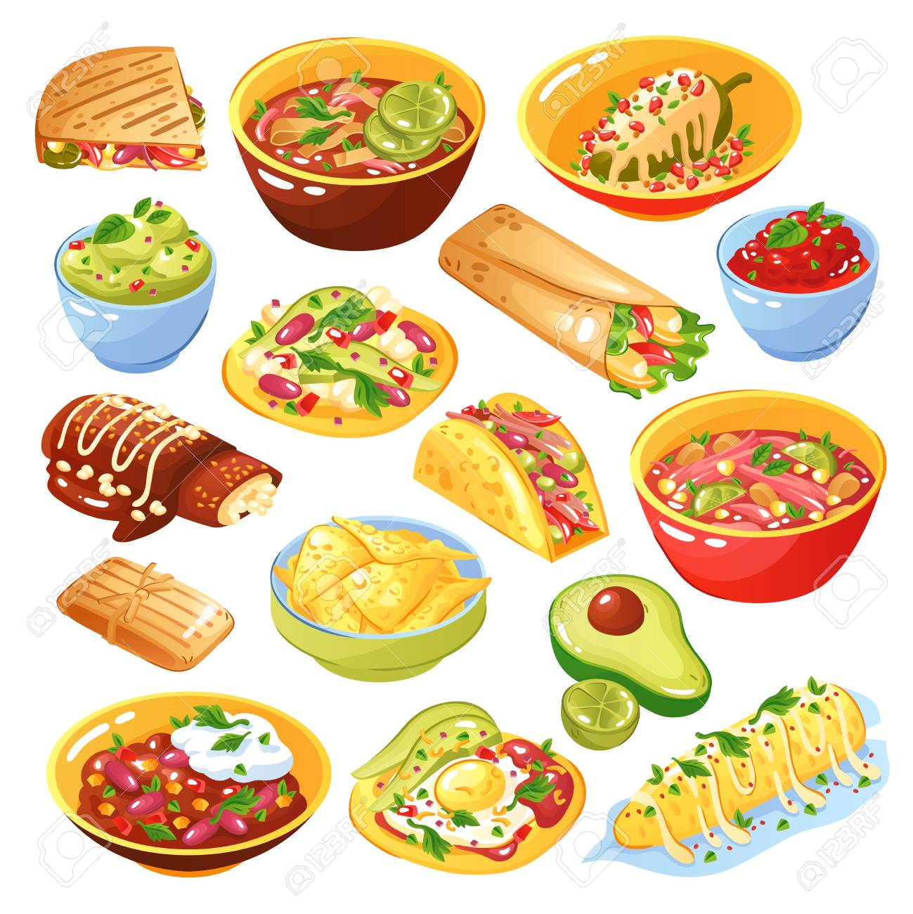 Traditional Mexican Food Dishes Collection With Tacos Quesadilla