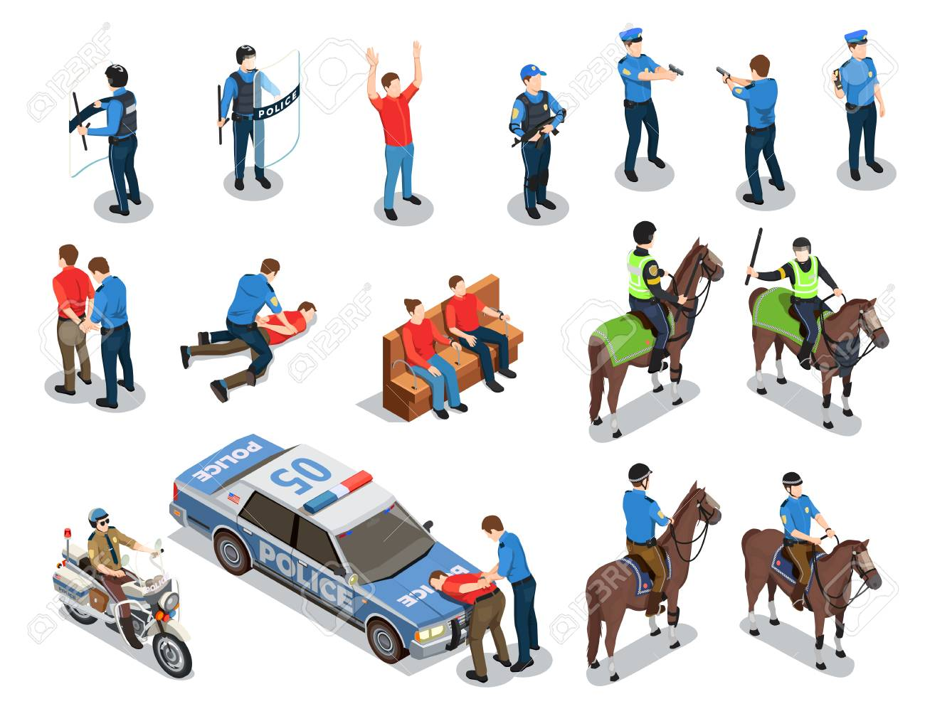 Police isometric icons set with law enforcement symbols isolated vector illustration - 102746333