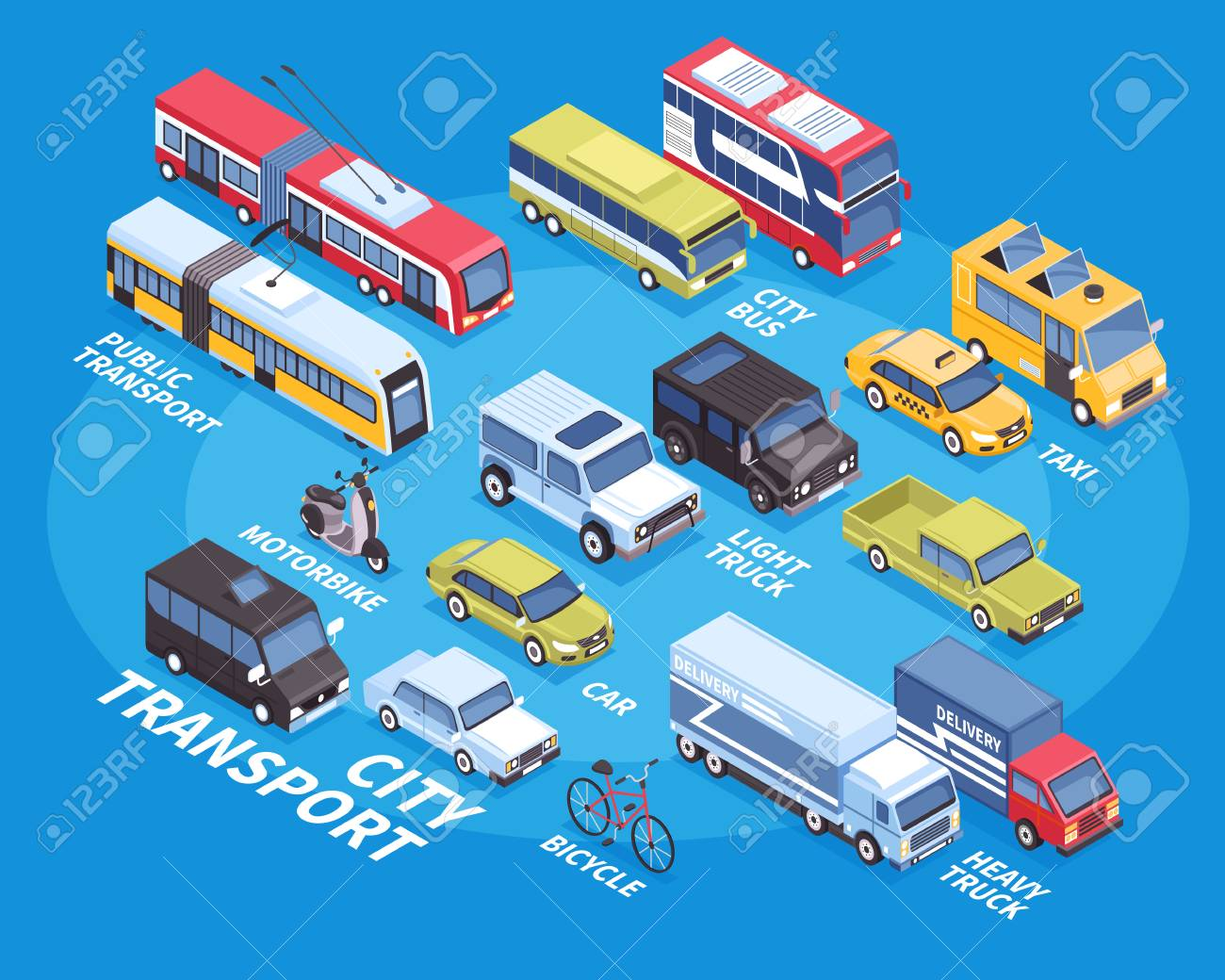 City transport isometric infographics with car truck bicycle taxi bus motorbike on blue background 3d vector illustration - 102746251