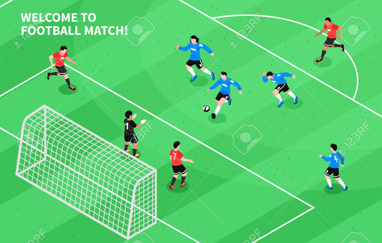 Football Soccer Match Moment With Attacking Forward Shooting Royalty Free Cliparts Vectors And Stock Illustration Image 102746435