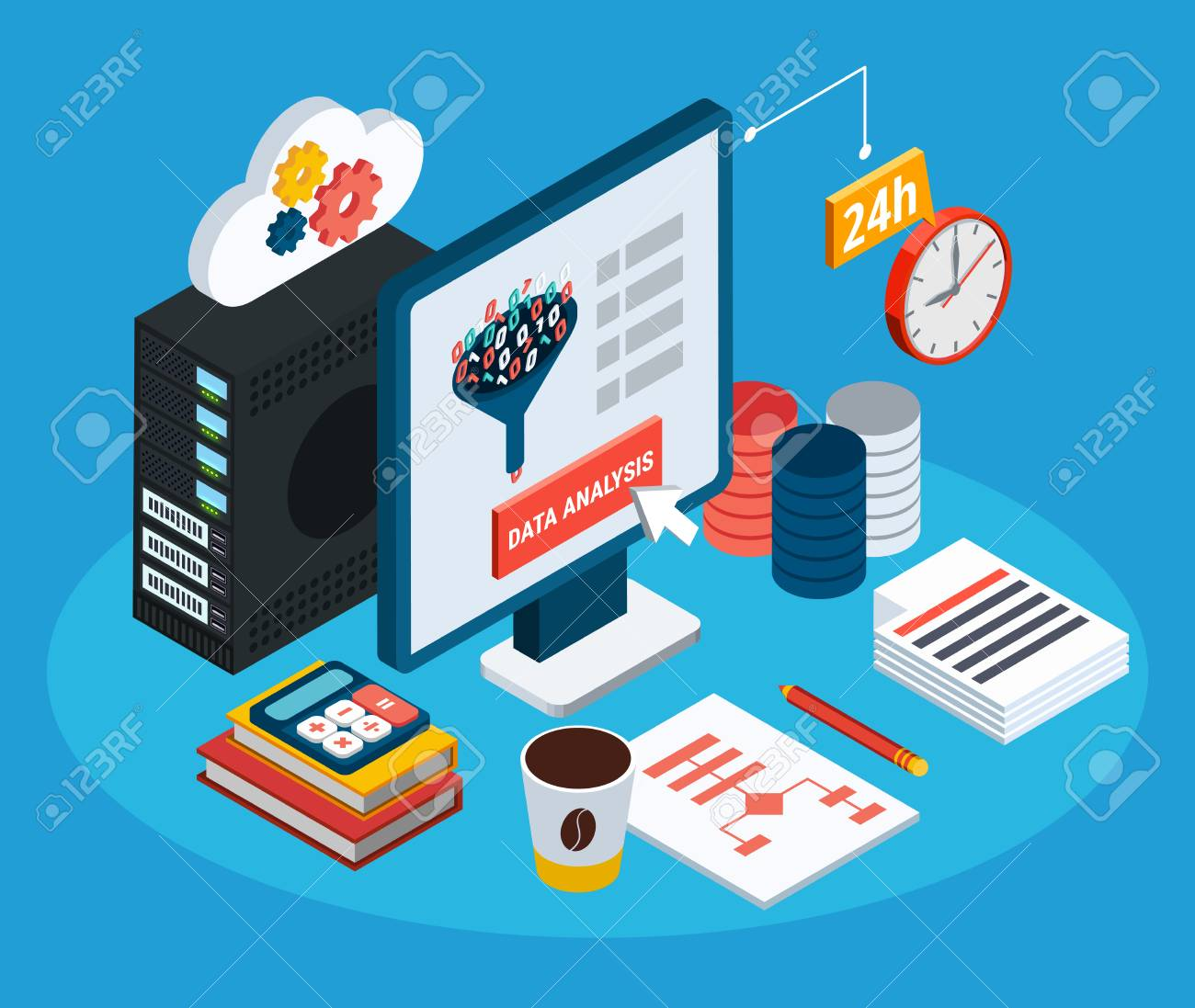 Data analysis isometric background with computer connected by