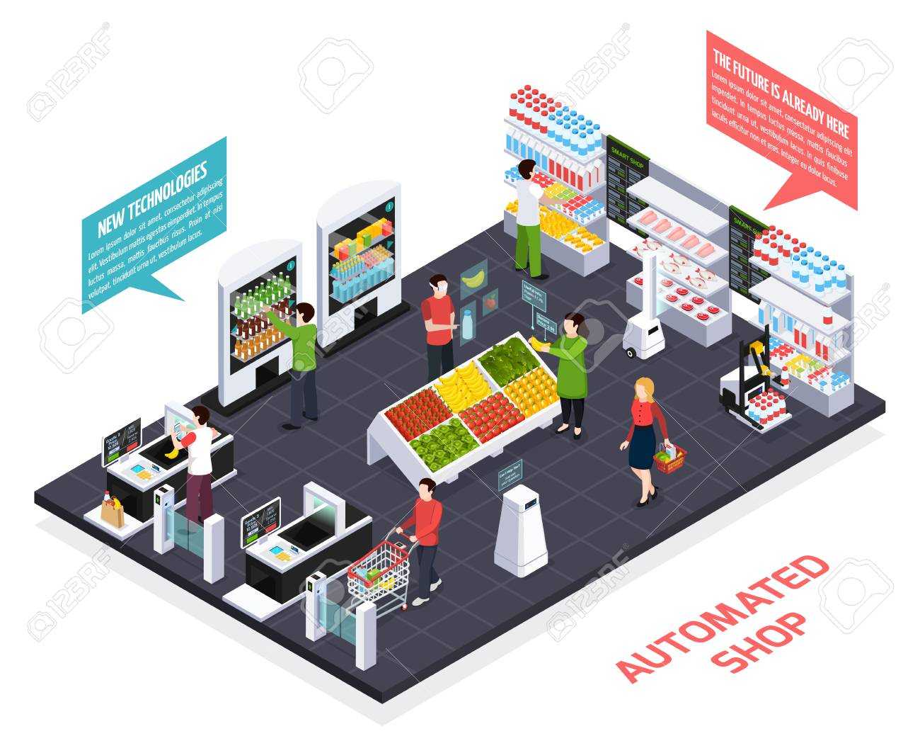 Automated shop isometric composition, virtual reality for goods information, robot equipment, smart shelves, security system vector illustration - 103367712