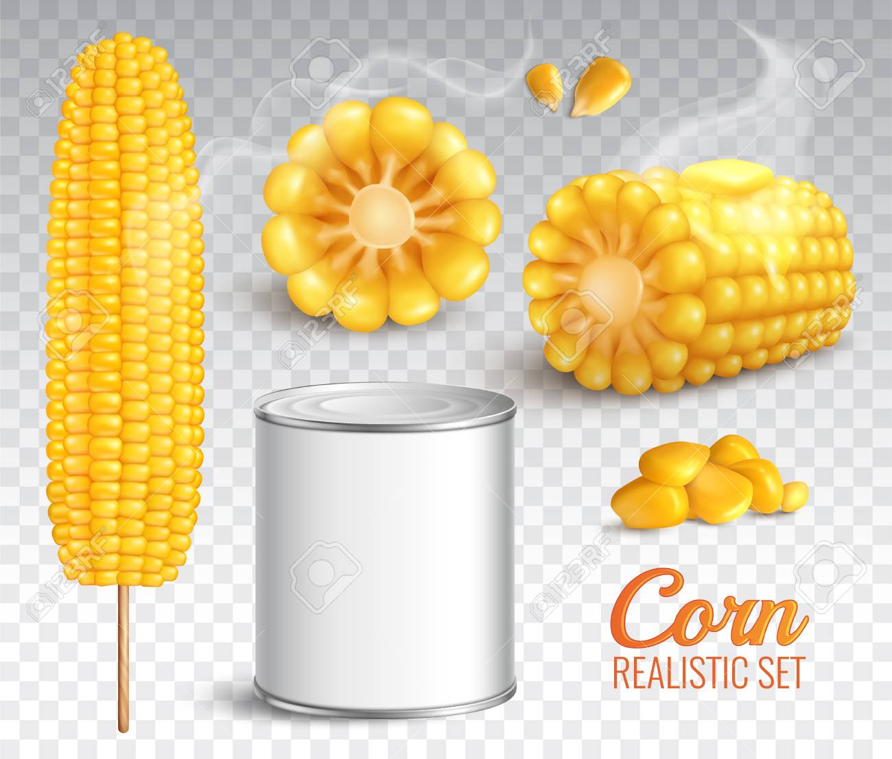 Realistic corn in cob, grains, baked buttered maize, canned product, set on transparent background isolated vector illustration - 103513293