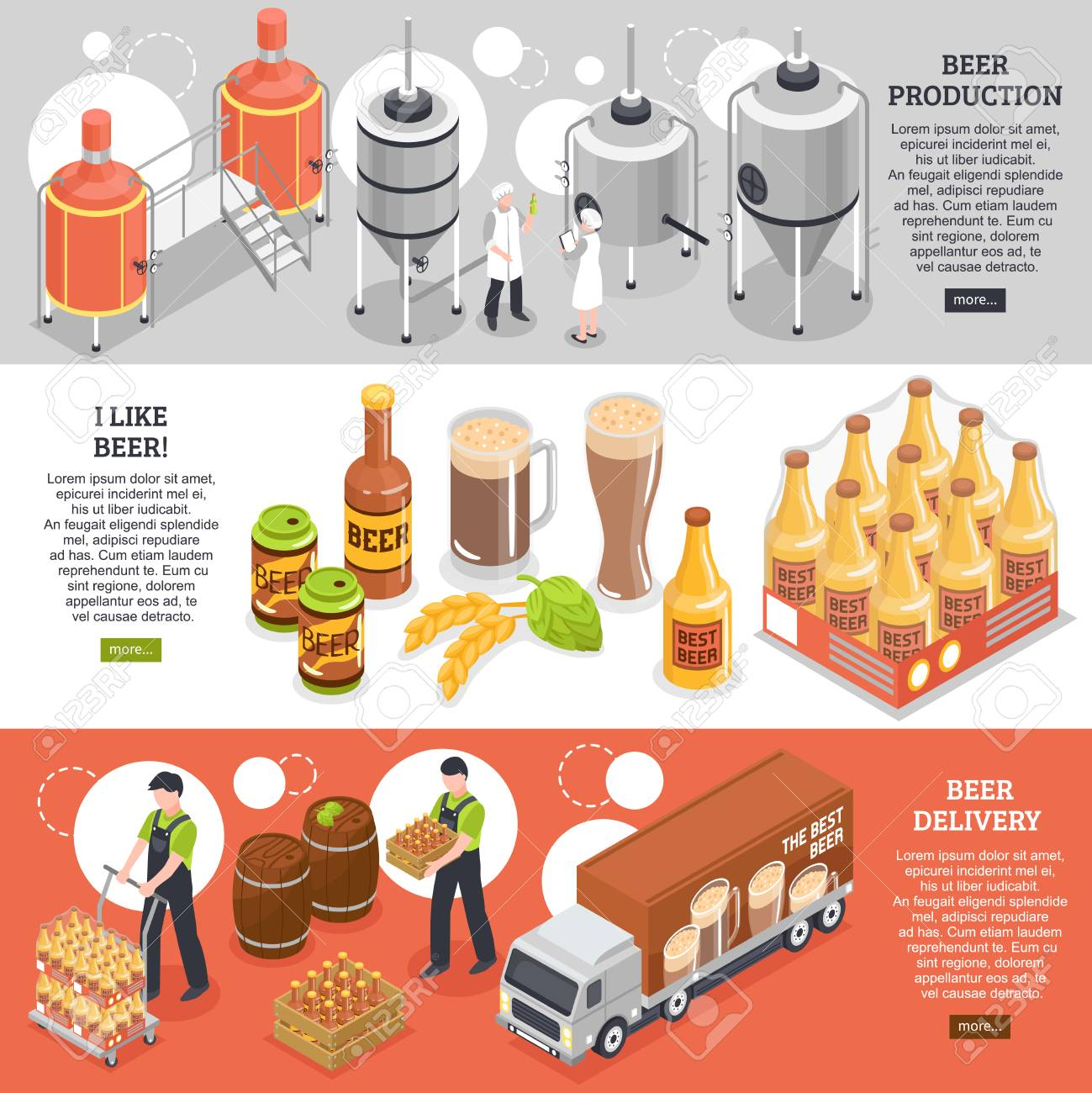 Beer production distribution consumption 3 isometric horizontal