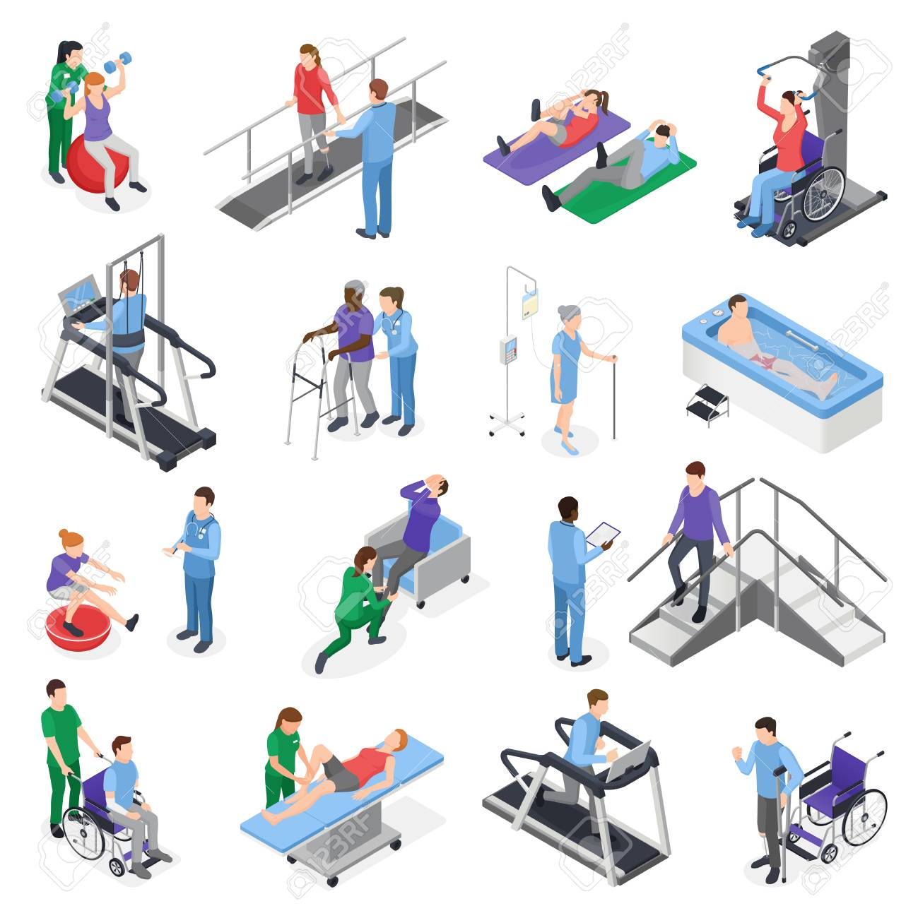 Physiotherapy rehabilitation clinic isometric icons set with nursing staff treatment equipment simulators patient recovery isolated vector illustration - 103669690