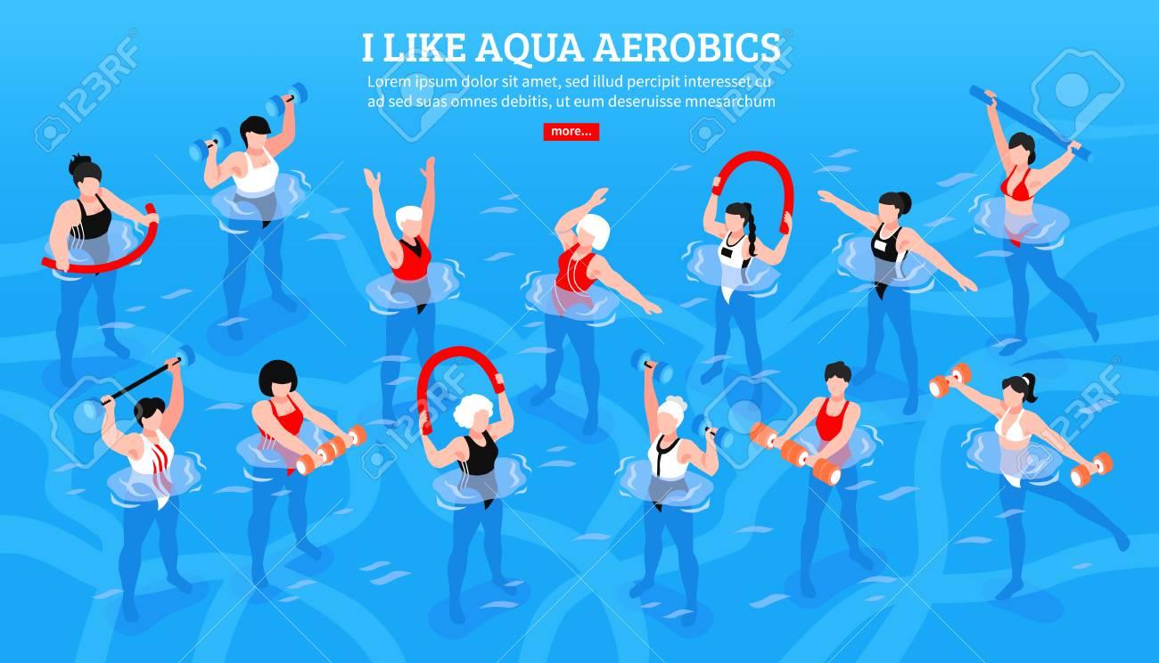 Women with various equipment during aqua aerobics class on blue background isometric horizontal vector illustration - 103688792