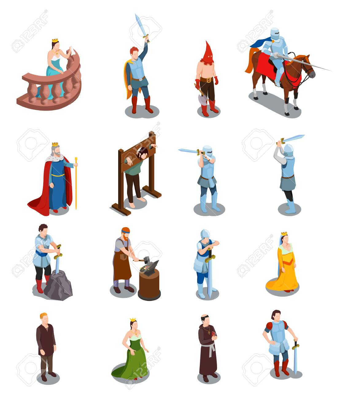 Medieval isometric icons with royal persons knights torture scene priest and blacksmith isolated vector illustration - 103876959