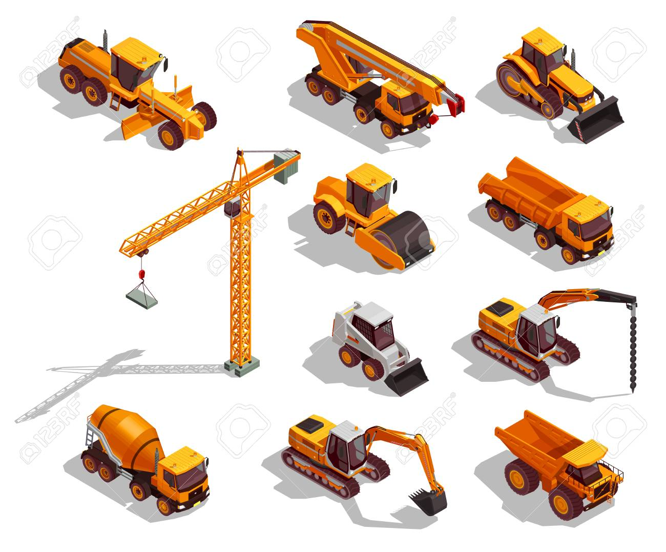Black yellow construction machinery for road works and building set of isometric icons isolated vector illustration - 103876978
