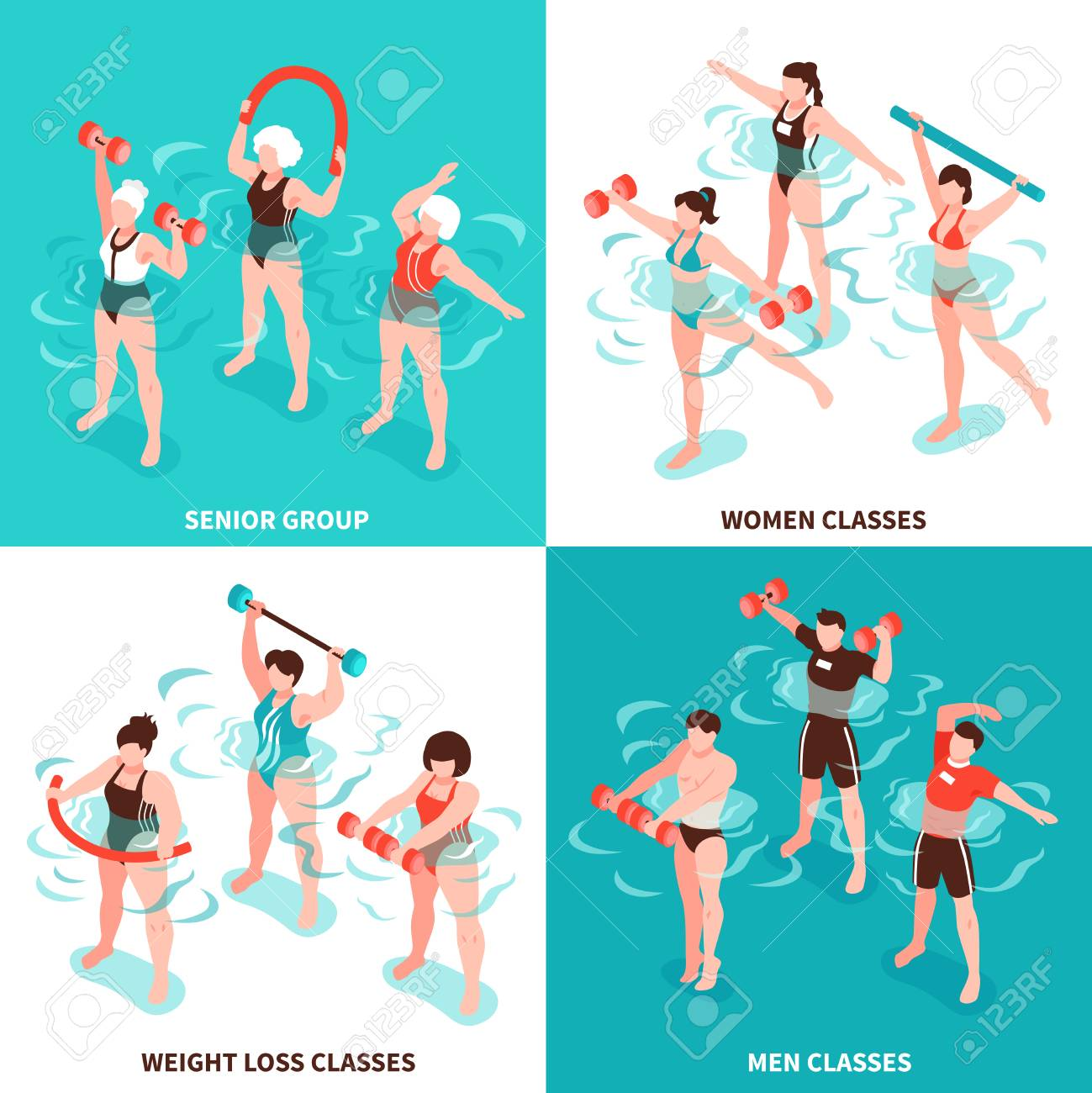 Aqua aerobics men and women classes senior group for persons losing weight isometric concept isolated vector illustration - 103965354