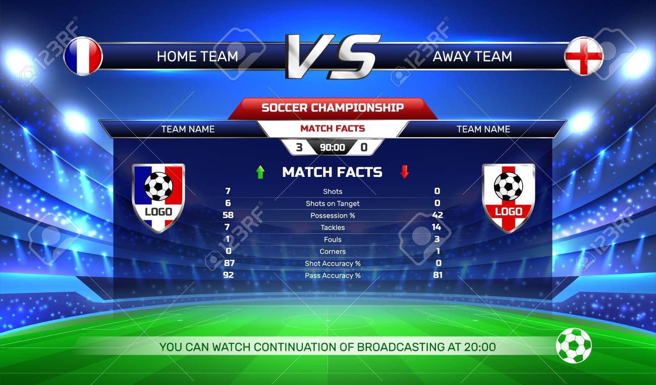 Broadcast of soccer championship, game result and statistics at screen on football stadium background vector illustration - 106211105