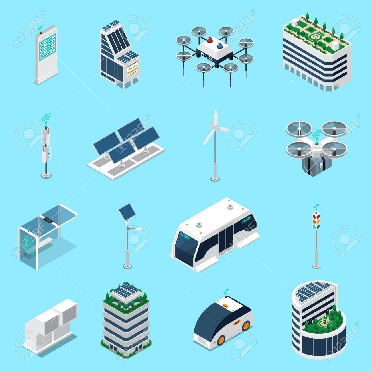 Smart city isometric icons set with transport and solar power symbols isolated vector illustration - 106211965
