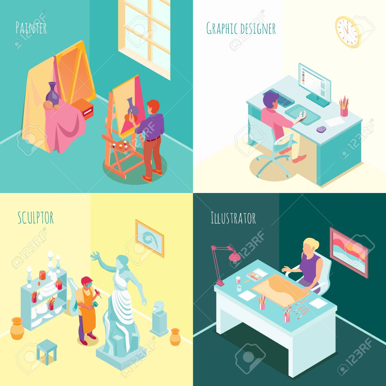 Artist At Work Concept Isometric Set With Sculptor Painter Graphic