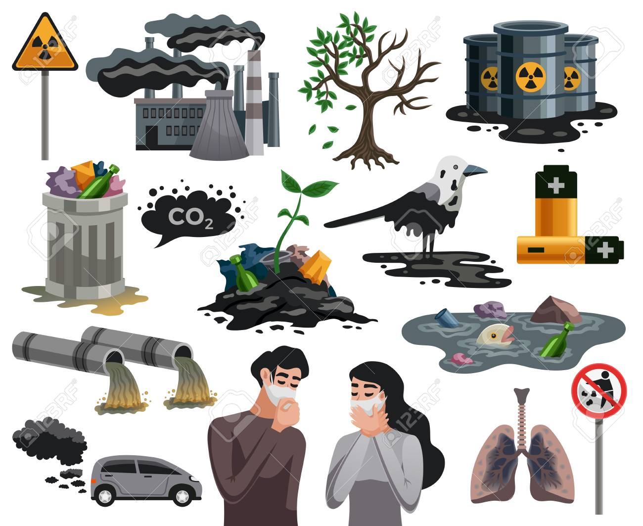 Ecological disasters flat images set with air water pollution hazardous waste related health problems isolated vector illustration - 106198692