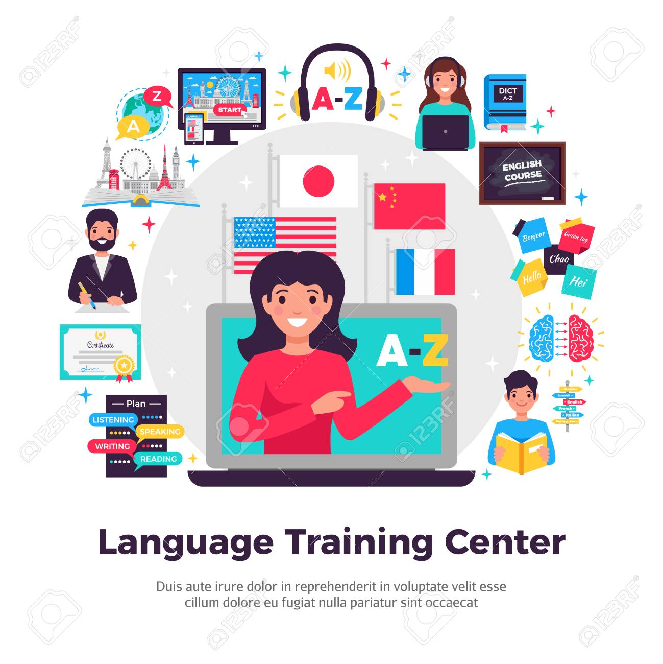 Foreign language training center advertisement flat composition with tutor online learning programs methods symbols apps vector illustration - 106198693