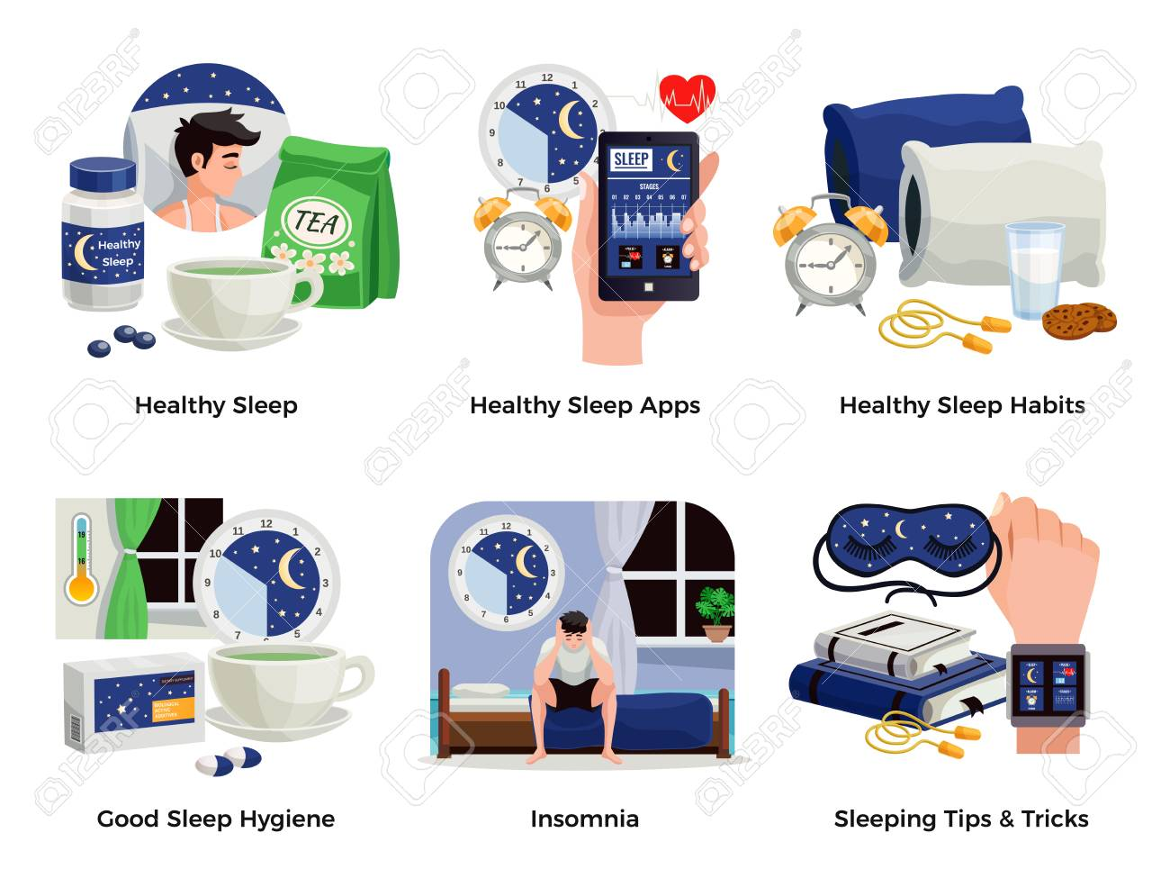 Healthy sleep and insomnia compositions set of habits apps tips tricks good hygiene isolated vector illustration - 106993575