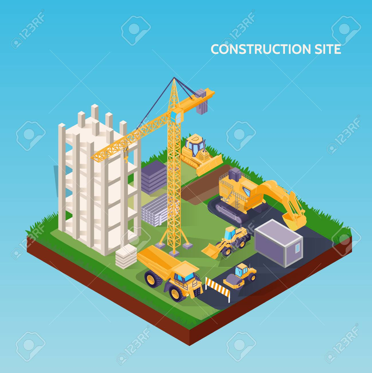 Construction site isometric concept with house foundation crane excavator bulldozer and materials on blue background 3d vector illustration - 106993590