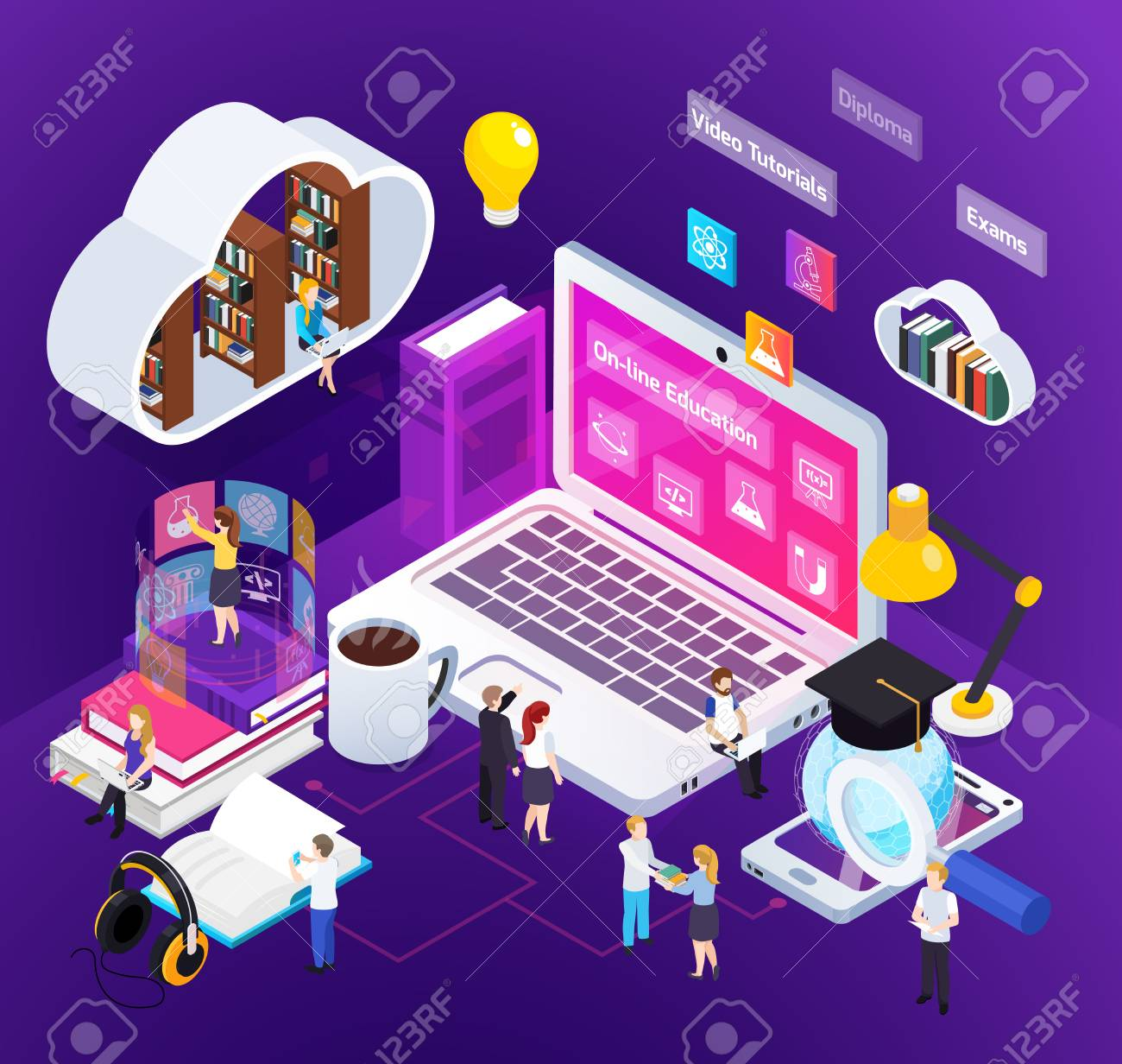 E-learning distance education bright glow isometric composition with studying home people degree virtual environment vector illustration - 106993598